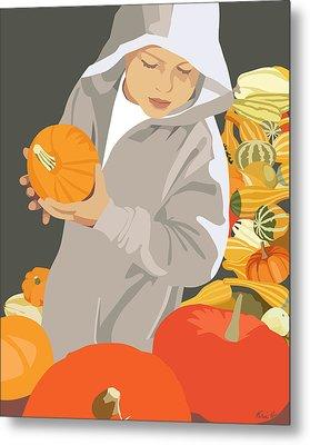Choosing A Pumpkin Metal Print by Kris Hackleman