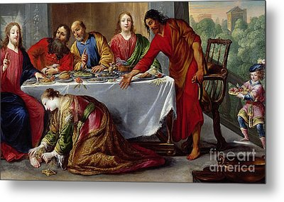 Christ In The House Of Simon The Pharisee Metal Print by Claude Vignon