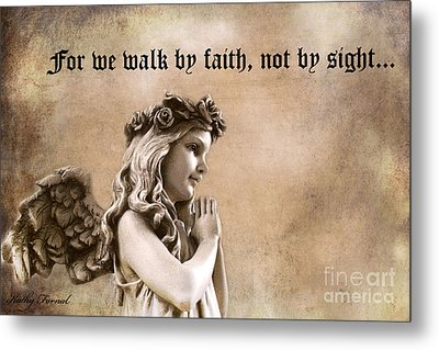 Christian Faith Girl Angel With Praying Hands Metal Print by Kathy Fornal