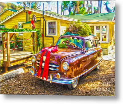 Metal Print featuring the painting Christmas At Crystal Cove by Gregory Dyer