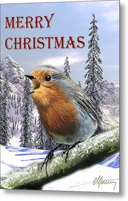 Christmas Card Red Robin Metal Print by Michael Greenaway