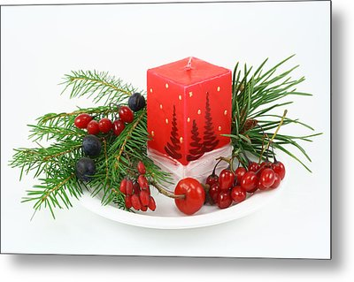Metal Print featuring the photograph Christmas Composition With Wood Berries by Aleksandr Volkov