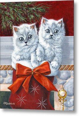 Christmas Kittens Metal Print by Richard De Wolfe