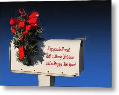 Christmas Mail Box Metal Print by Linda Phelps