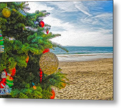 Metal Print featuring the painting Christmas On The Beach by Gregory Dyer