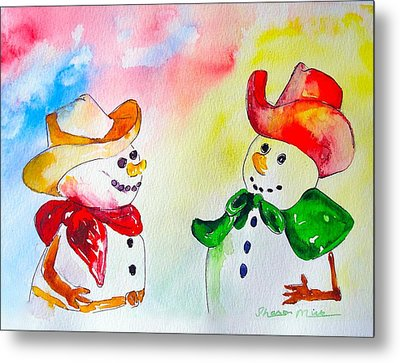 Metal Print featuring the painting Christmas Partners by Sharon Mick