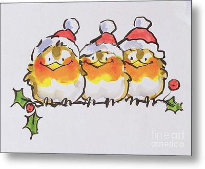 Christmas Robins Metal Print by Diane Matthes