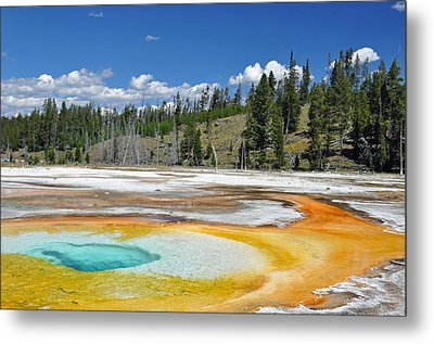 Chromatic Pool Yellowstone National Park Metal Print by Bruce Gourley