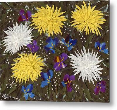 Chrysanthemums And Irises Metal Print by Marina Gershman