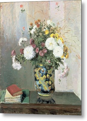 Chrysanthemums In A Chinese Vase Metal Print by Camille Pissarro