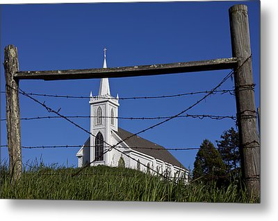 Church And Barbed Wire Metal Print by Garry Gay
