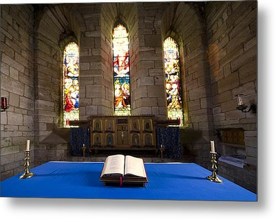Church And Open Bible, Holy Island Metal Print by John Short