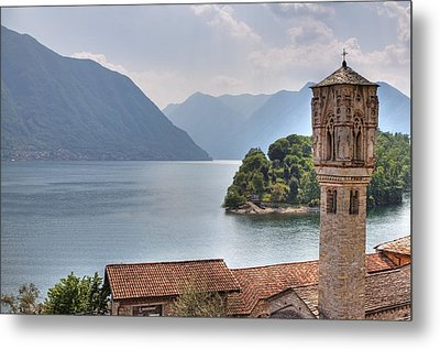 church at the Lake Como Metal Print by Joana Kruse