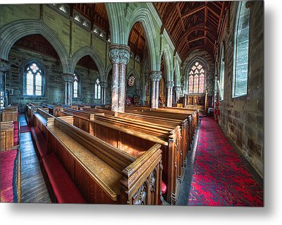 Church Benches Metal Print by Adrian Evans