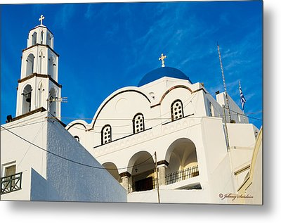 Church In Greece Metal Print by Johnny Sandaire