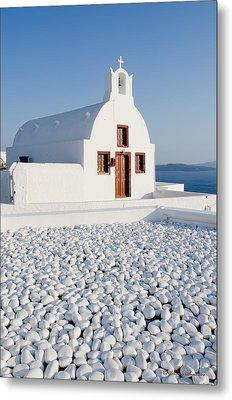 Church In Santorini Metal Print by Johnny Sandaire