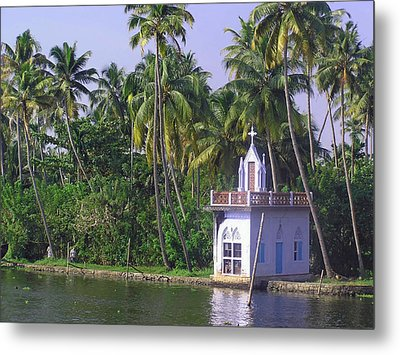 Church Located On A Coastal Lagoon In Kerala In India Metal Print