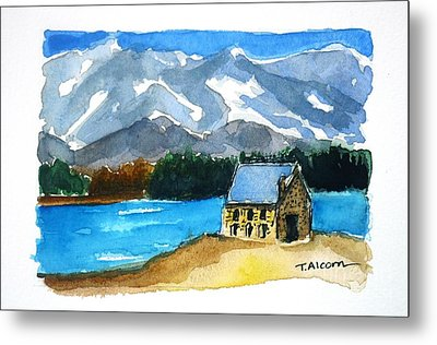 Metal Print featuring the painting Church Of The Good Shepherd Lake Tekapo New Zealand by Therese Alcorn