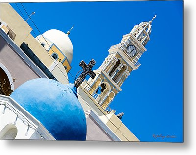 Church Over Greece Metal Print by Johnny Sandaire