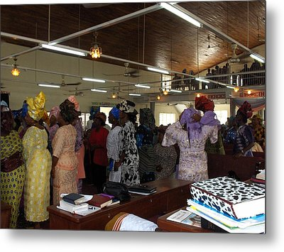 Church Service In Nigeria Metal Print by Amy Hosp