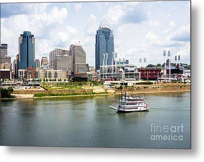 Cincinnati Skyline With Riverboat Photo Metal Print by Paul Velgos