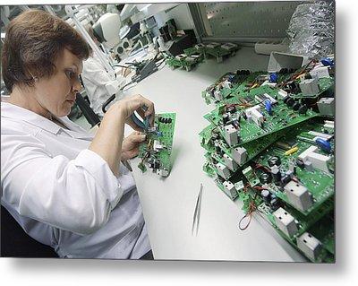 Circuit Board Assembly Work Metal Print by Ria Novosti