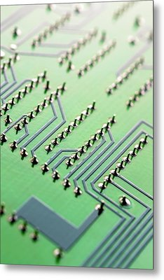 Circuit Board Metal Print by Maria Toutoudaki