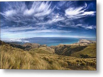 Cirrus Clouds And Kaitorete Spit Metal Print