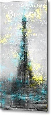 City-art Paris Eiffel Tower Letters Metal Print