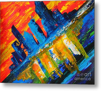 Metal Print featuring the painting City By The Sea by Everette McMahan jr