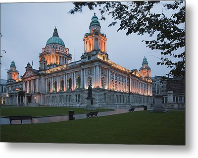 City Hall Illuminated Belfast, County Metal Print by Peter Zoeller