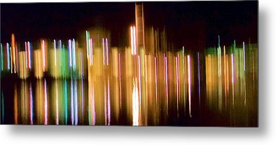City Lights Over Water Abstract Metal Print by Carolyn Repka