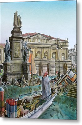 City Of Milan In Italy Under Water Metal Print by Fabrizio Cassetta