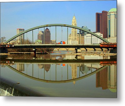 City Reflections Through A Bridge Metal Print