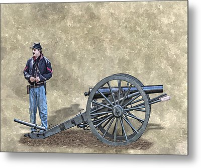 Civil War Union Artillery Corporal With Cannon Metal Print by Randy Steele