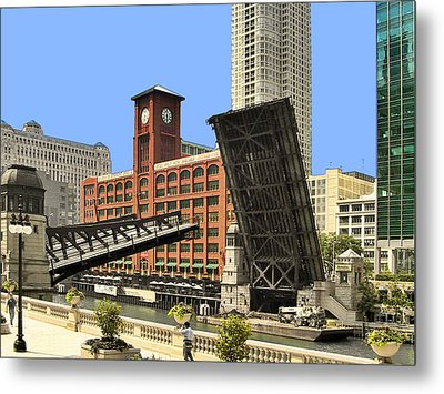 Clark Street Bridge Chicago - A Contrast In Time Metal Print by Christine Till