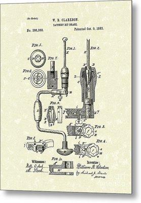 Clarkson Bit Brace 1883 Patent Art  Metal Print by Prior Art Design