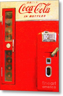 Classic Coke Dispenser Machine . Type 2 Metal Print by Wingsdomain Art and Photography
