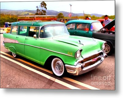 Classic Green Chevrolet Stationwagon . 7d15213 Metal Print by Wingsdomain Art and Photography