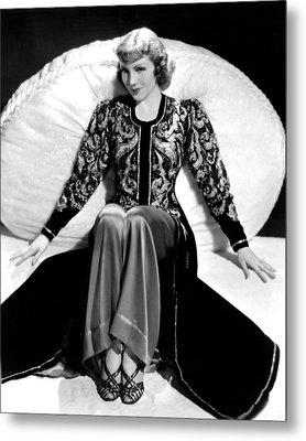 Claudette Colbert, In A Travis Banton Metal Print