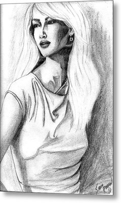 Metal Print featuring the drawing Claudia by Sarah Farren