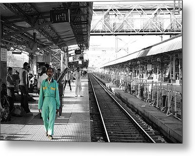 Cleaner At The Train Station Metal Print by Sumit Mehndiratta