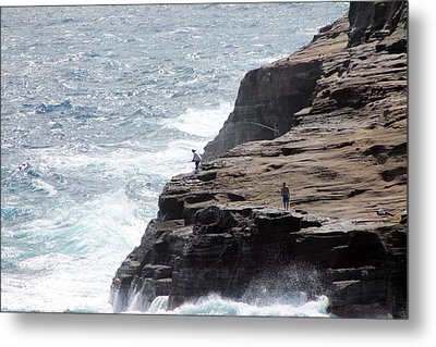 Metal Print featuring the photograph Cliff Fishing by Elizabeth  Doran