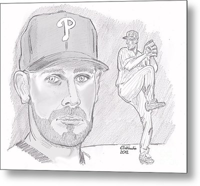 Metal Print featuring the drawing Cliff Lee by Chris  DelVecchio