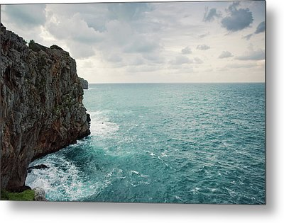 Cliff Line And Stormy Mediterranean Sea Metal Print by Guido Mieth