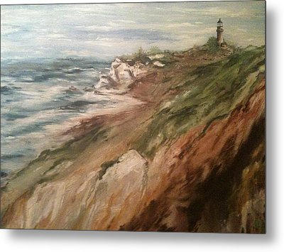 Cliff Side - Newport Metal Print by Karen  Ferrand Carroll