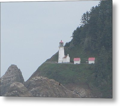 Cliff Side Light House Metal Print by Kathy Long