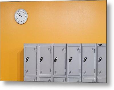 Clock On An Orange Wall Above Lockers Metal Print