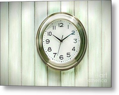 Clock On The Wall Metal Print by Sandra Cunningham