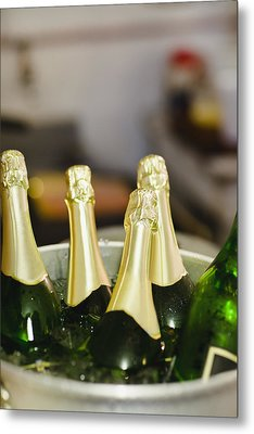 Close Up Of Bucket Of Champagne Metal Print